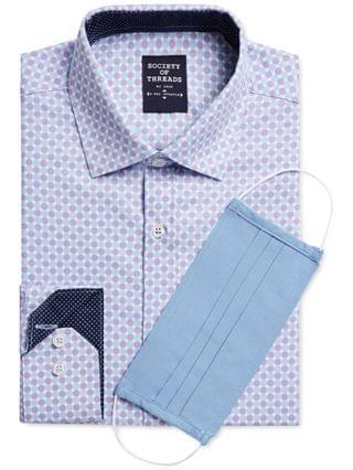 MEN Slim-Fit Performance Stretch Dotted Dress Shirt with Pleated Face Mask