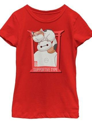 KIDS Disney Big Hero 6 Big Girls TV Series Baymax and Cat Short Sleeve T-Shirt