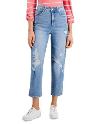 WOMEN Petite Ripped Straight-Leg Ankle Jeans Created for Macy's