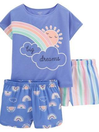 KIDS Little Girls Rainbow Loose Fit Pajamas 3 Pieces