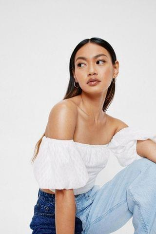 WOMEN Petite Ruched Front Puff Sleeve Crop Top