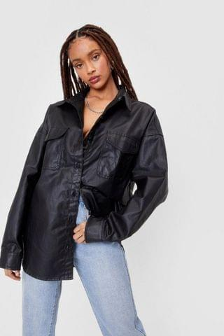 WOMEN Coated Oversized Denim Shirt Jacket