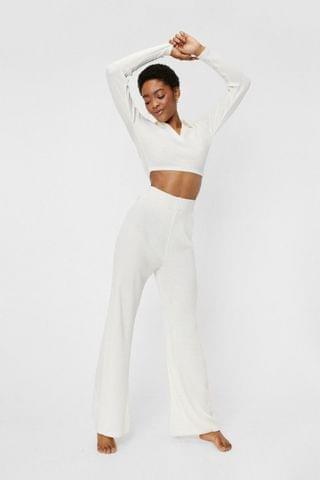 WOMEN Ribbed Knit Crop Sweater and Wide Leg Pants Lounge Set