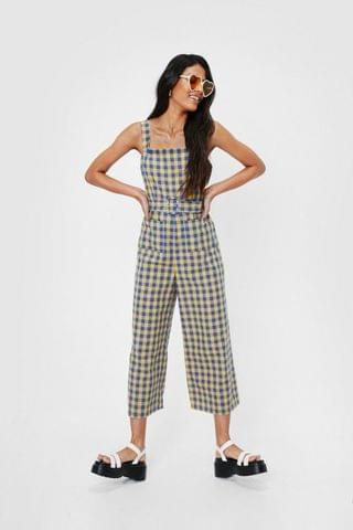 WOMEN Square Neck Check Print Belted Culotte Jumpsuit