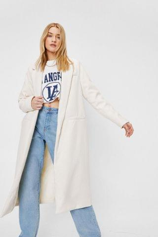 WOMEN Wool Look Oversized Longline Coat