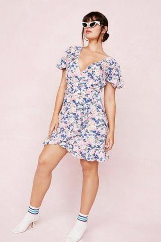 WOMEN Plus Size Floral Belted Wrap Mini Dress