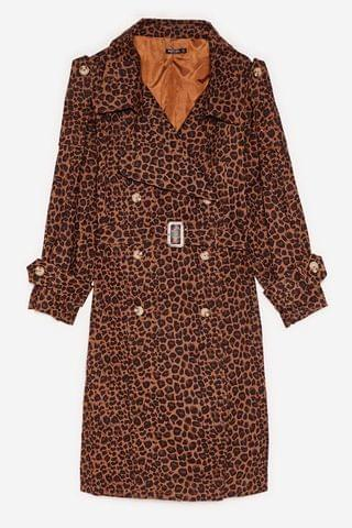 WOMEN Plus Size Leopard Print Belted Trench Coat