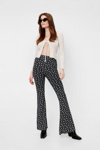 WOMEN Ditsy Floral Print High Waisted Flared Trousers