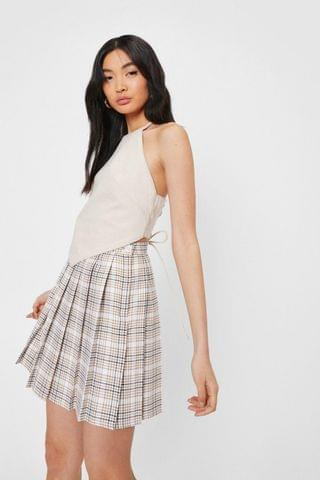 WOMEN Check Print Pleated Mini Skirt