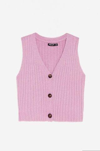 WOMEN V Neck Cropped Ribbed Knitted Tank Top
