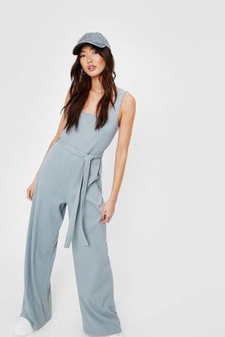 WOMEN Ribbed Square Neck Belted Jumpsuit