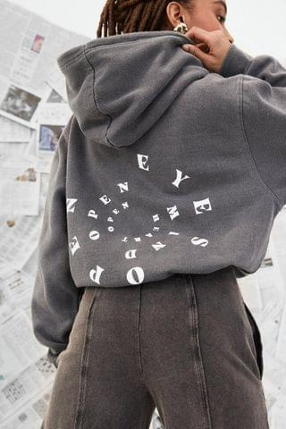 WOMEN Keep an Open Mind Oversized Graphic Back Hoodie