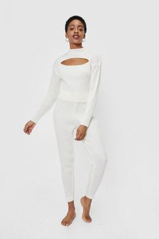 WOMEN Ribbed Knit Cut Out Top and Joggers Lounge Set