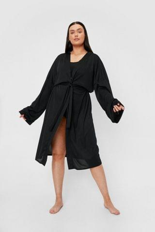 WOMEN Plus Size Ribbed Belted Longline Robe