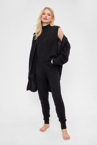 WOMEN Knitted High Neck Top Cardigan and Jogger Lounge Set