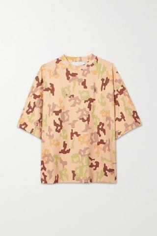 WOMEN THE ATTICO Cara embellished camouflage-print cotton-jersey T-shirt
