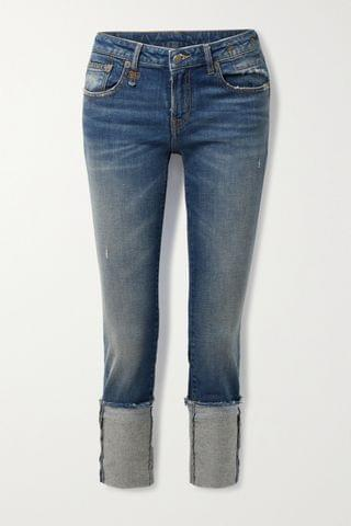 WOMEN R13 Kate cropped distressed low-rise skinny jeans