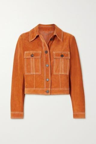 WOMEN SALVATORE FERRAGAMO Cropped topstitched suede jacket
