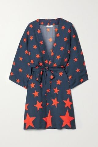 WOMEN AZ FACTORY Pijama You're A Star belted printed silk-twill robe