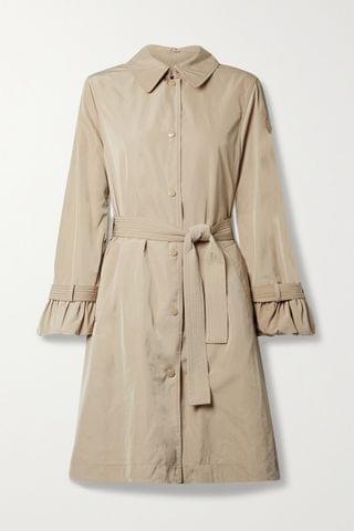 WOMEN MONCLER Belted ruffled shell trench coat