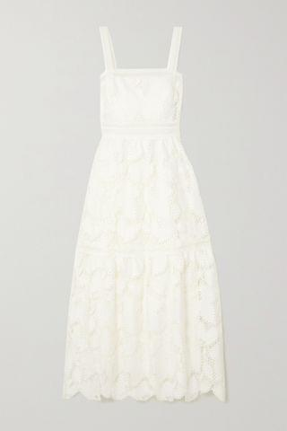 WOMEN MONIQUE LHUILLIER Tiered guipure lace maxi dress