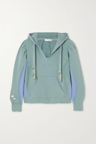 WOMEN LOVESHACKFANCY Alouette distressed paneled cotton-jersey and terry hoodie