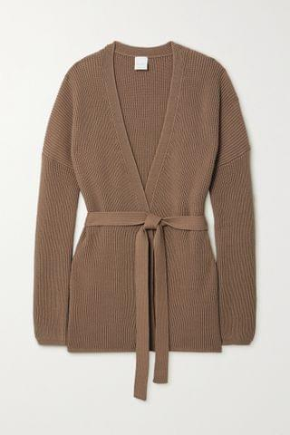 WOMEN MAX MARA + Leisure belted ribbed cotton-blend cardigan