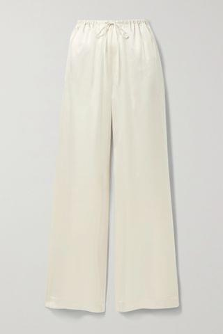 WOMEN ROSETTA GETTY Silk-satin wide-leg pants