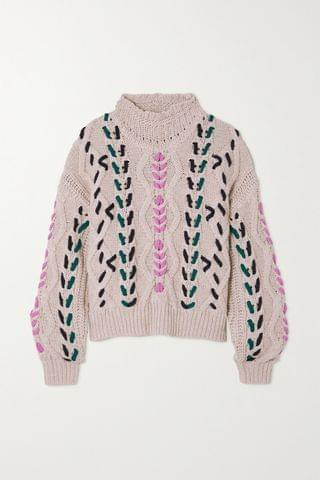 WOMEN ISABEL MARANT TOILE Zola embroidered cable-knit sweater