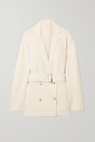 WOMEN VINCE Belted double-breasted merino wool-blend cardigan
