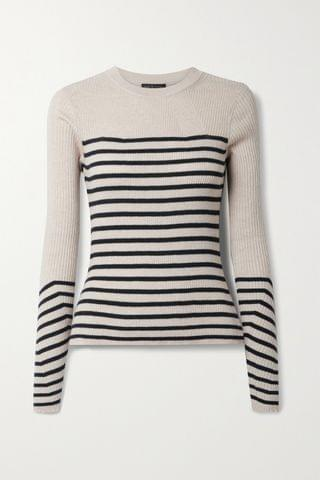 WOMEN RAG & BONE Kate striped ribbed cotton and cashmere-blend sweater