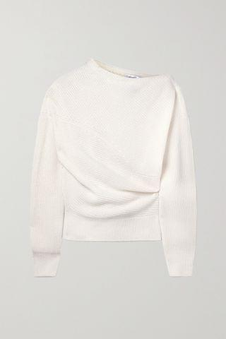 WOMEN MICHAEL KORS COLLECTION Off-the-shoulder ribbed cashmere and linen-blend sweater