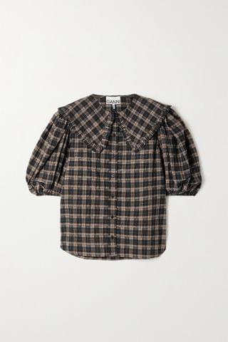 WOMEN GANNI Ruffled checked organic cotton-blend seersucker blouse