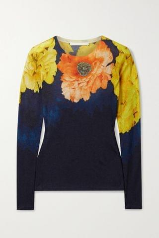WOMEN JASON WU COLLECTION Floral-print cashmere and silk-blend sweater