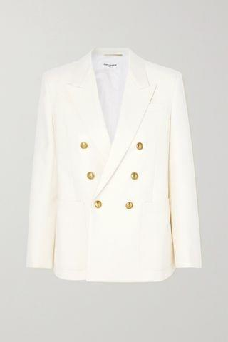 WOMEN SAINT LAURENT Double-breasted virgin wool blazer