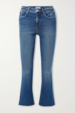 WOMEN L'AGENCE Kendra cropped distressed high-rise flared jeans