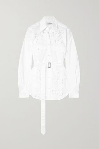 WOMEN JW ANDERSON Belted broderie anglaise cotton-poplin shirt
