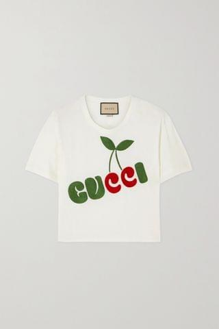 WOMEN GUCCI + NET SUSTAIN cropped embroidered organic cotton-jersey T-shirt