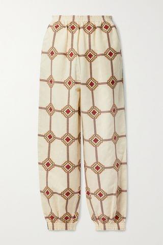 WOMEN TORY BURCH Embroidered linen and cotton-blend tapered pants