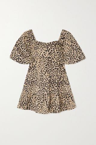 WOMEN FAITHFULL THE BRAND + NET SUSTAIN Eryn tie-detailed tiered leopard-print cotton-poplin mini dress
