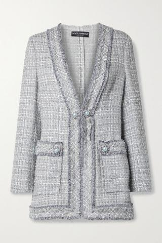 WOMEN DOLCE & GABBANA Embellished frayed metallic tweed jacket