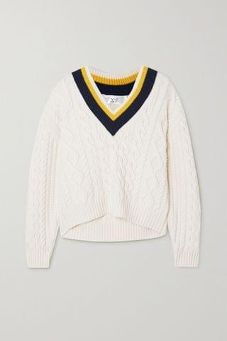 WOMEN VICTORIA, VICTORIA BECKHAM Striped cable-knit sweater