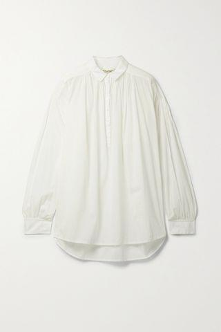WOMEN NILI LOTAN Miles gathered cotton-voile blouse