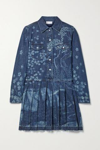 WOMEN REDVALENTINO Frayed pleated printed denim mini dress