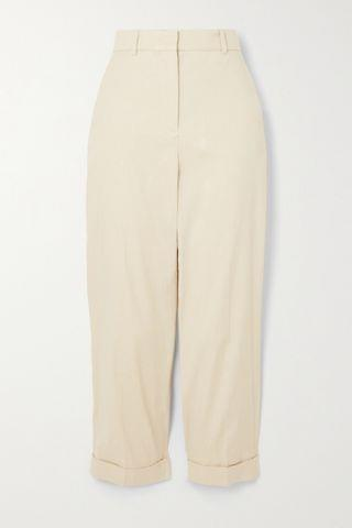 WOMEN JOSEPH Trina cropped stretch-linen and cotton-blend tapered pants
