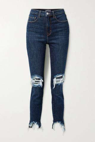 WOMEN L'AGENCE High Line cropped distressed skinny jeans