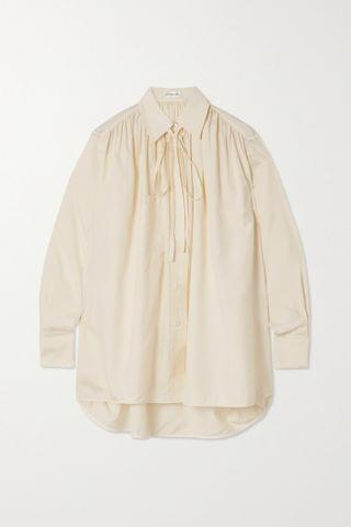 WOMEN VICTORIA BECKHAM Oversized pussy-bow gathered silk blouse