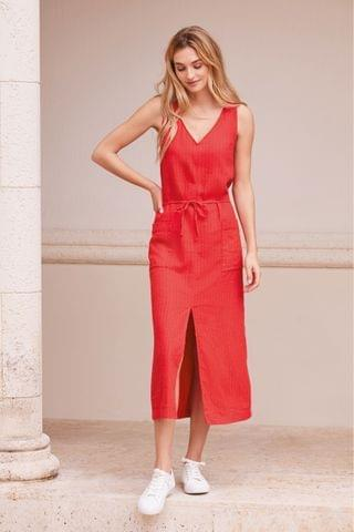WOMEN Red Linen Look Belted Midi Dress