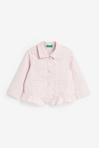 KIDS Benetton Pink Pim Frill Hem Denim Jacket