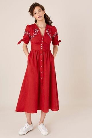 WOMEN Monsoon Red Dolly Floral Embroidered Midi Dress
